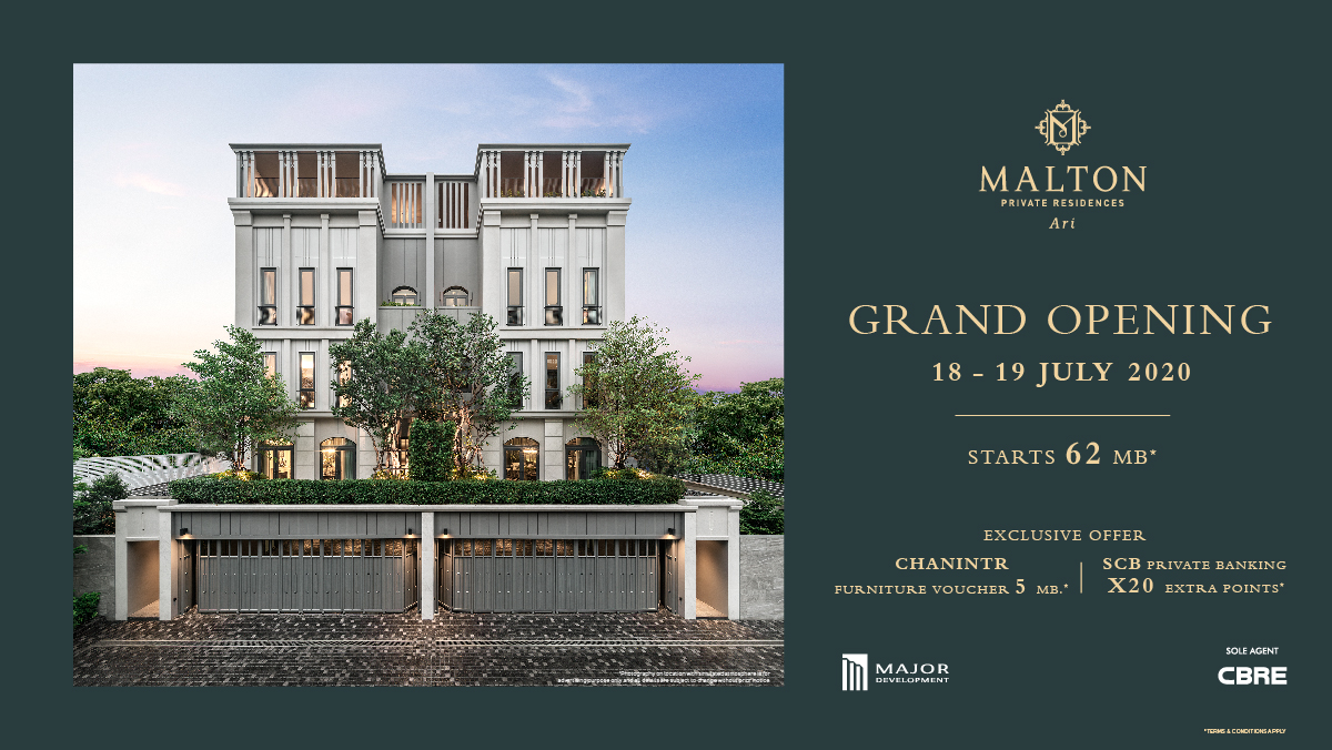 𝐌𝐀𝐋𝐓𝐎𝐍 𝐏𝐑𝐈𝐕𝐀𝐓𝐄 𝐑𝐄𝐒𝐈𝐃𝐄𝐍𝐂𝐄𝐒 𝐀𝐑𝐈   Grand opening this 18-19 July, the finest luxury residences located on Phahonyothin-Ari. #ReadyToMoveIn today! 💵 Price starts at THB 62 MB.* . Make an appointment at: 📞 061 419 6222 📍 https://t.co/IUUJ4PPr1g https://t.co/0WwDDVFppL