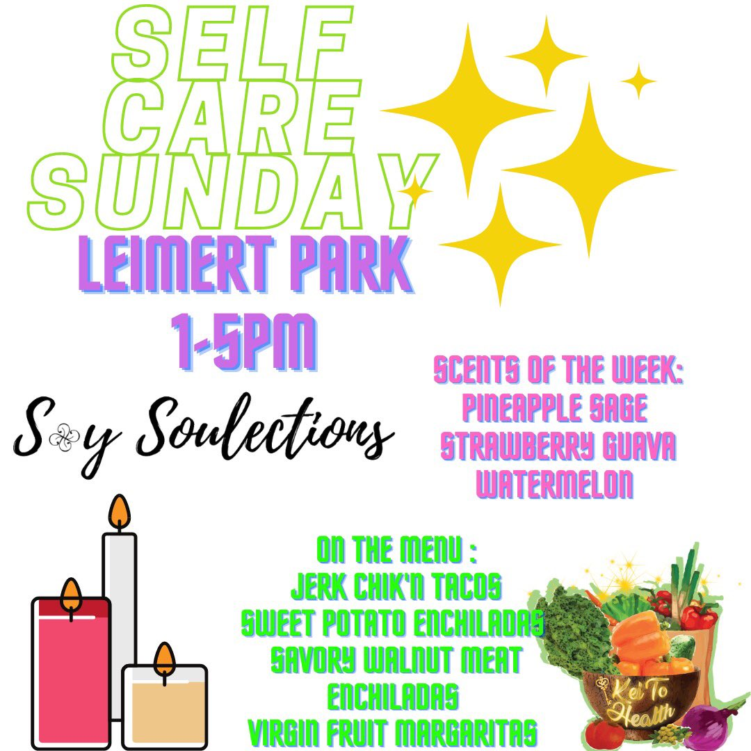 @soysoulections X @KeiToHealth this SUNDAY 1-5PM✨🔑💚 #selfcaresunday pop out! get some vitamin D, plant based goods, & delicious hand made non-toxic candles 🕯✨ we LIVE! #BlackOwnedBusiness #LAweekend https://t.co/CeOAIuULOI