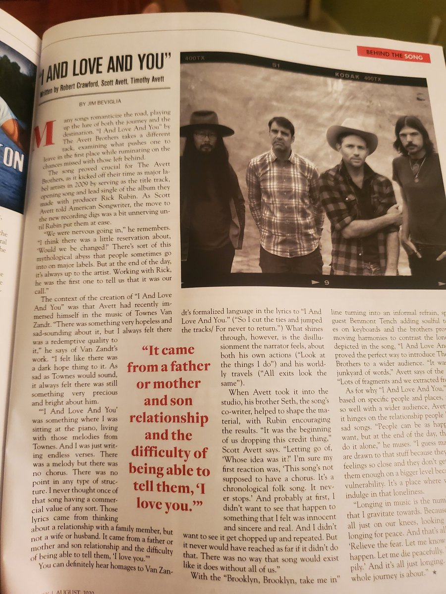In the latest issue of @AmerSongwriter I spoke to @ScottAvett of the @theavettbros about 'I And Love And You':