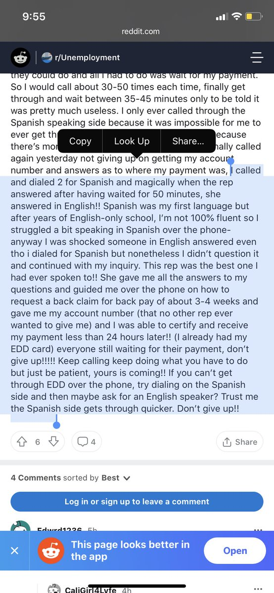 r/unemployment is full of people cheering on their fellow posters when they finally get their unemployment benefits — this guy doesn't really speak Spanish but finally got his $$ by hitting 2 for the Spanish line w/ the UI office https://t.co/bjPLWEUk62