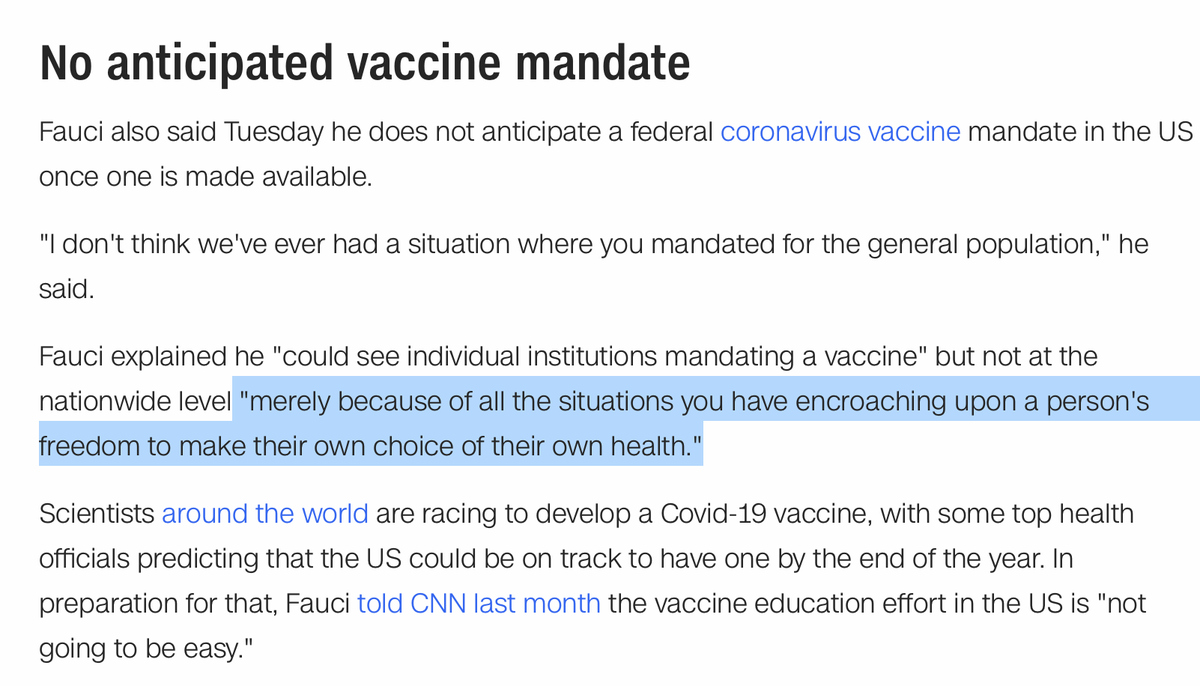 """good god, Fauci just said that a federal mandate for Covid vaccinations would """"encroach[] upon a person's freedom to make their own choice of their own health."""" https://t.co/9BFetKxpZ0 https://t.co/qEtRb6z2JT"""
