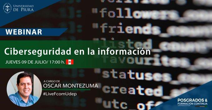 """En minutos nos conectamos con @oscarmontezuma, director de Niubox Legal, para hablar sobre """"Protección de la información personal y ciberseguridad""""   Haz click y participa en nuestro webinar libre:  https://t.co/b9Qq5gi5Gw  #MktDigitalPeru #LiveFcomUdep #UdepEnLinea https://t.co/x1GrsYhktt"""