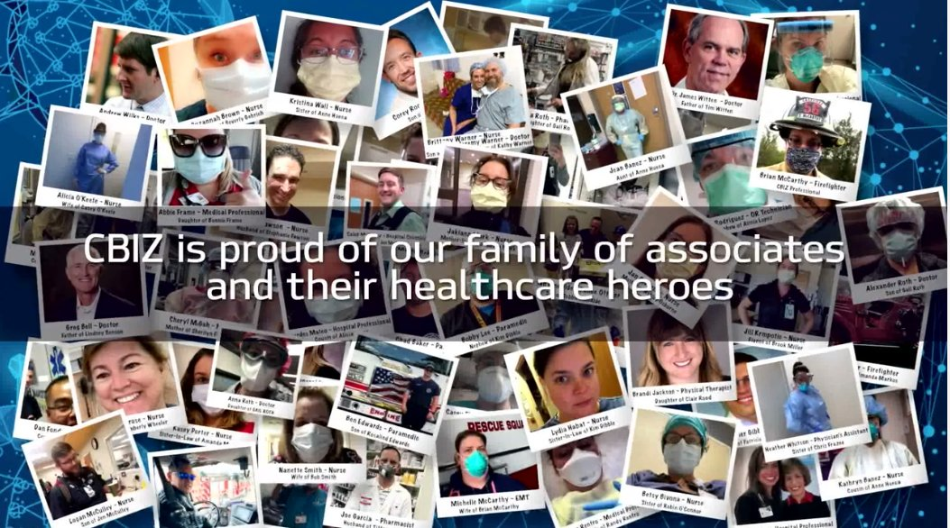 These are the faces of our family members... our CBIZ Healthcare Heroes! Check out the full video: https://t.co/ljWXnL4CDW https://t.co/bKIS6QhoCx