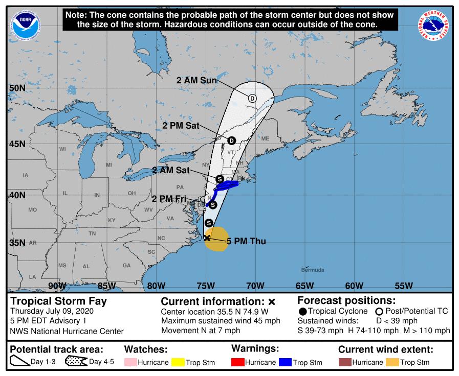 BULLETIN Tropical Storm #Fay Advisory Number   1 @NWS @NWSNHC  Miami FL       AL062020 500 PM EDT Thu Jul 09 2020 https://t.co/qI5Snqzo0R? https://t.co/9Ymnp9egWG