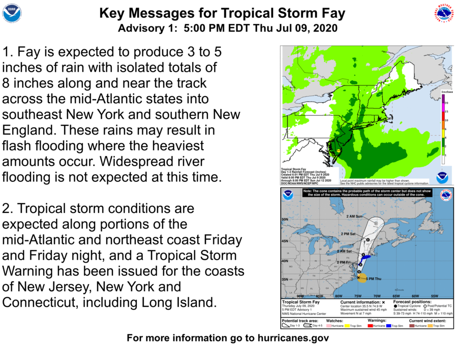 Here are the Key Messages for Tropical Storm #Fay for Thursday afternoon.  The latest forecast is at https://t.co/tW4KeFW0gB https://t.co/SRQTJZ9Af7