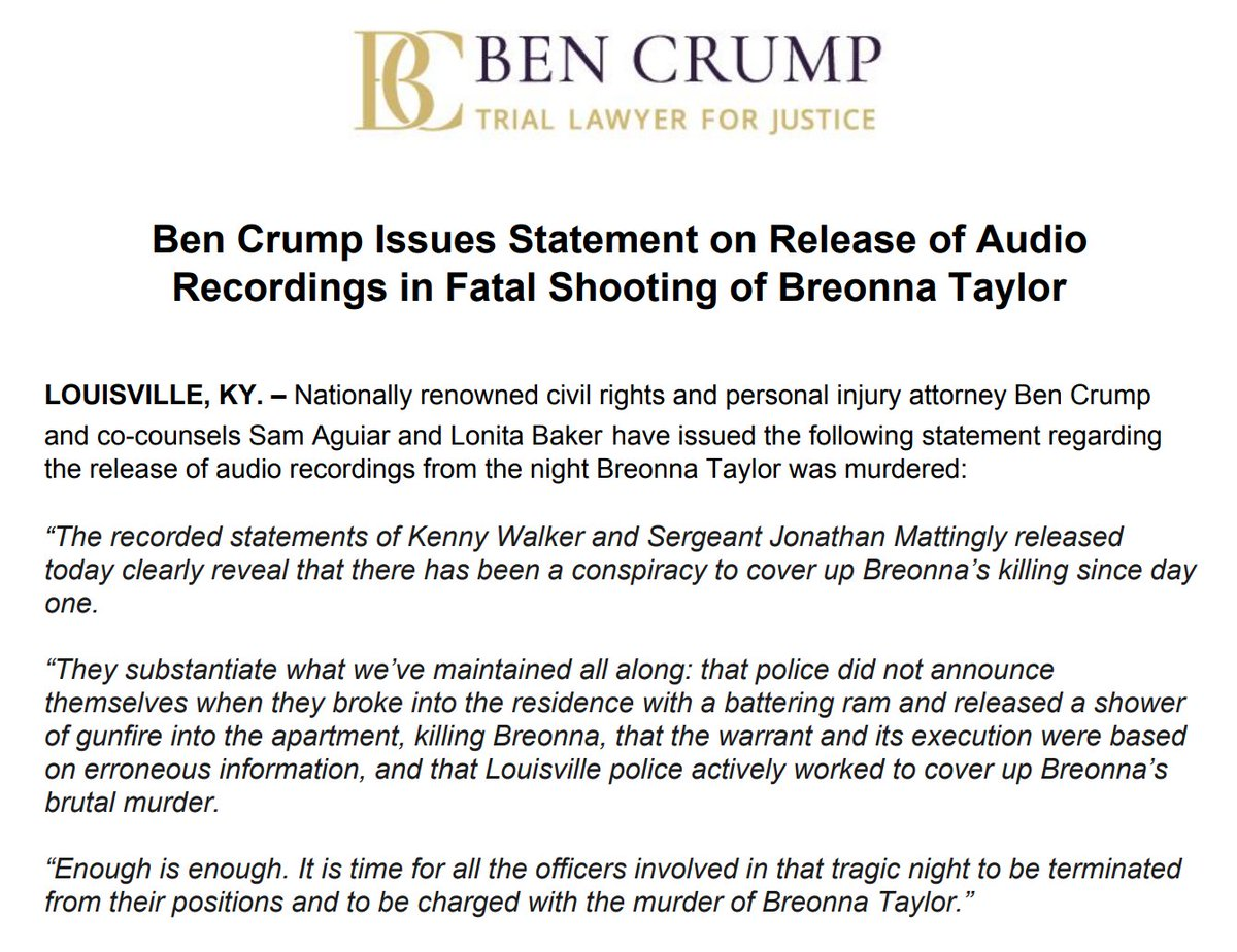 UPDATE: Audio of #KennyWalker and Sgt. Jonathan Mattingly clearly reveal that there has been a CONSPIRACY to cover up #BreonnaTaylor's killing since day one!! ALL the officers involved need to be FIRED and CHARGED with murder. Listen to the recordings: nbcnews.to/2ZVoRKs