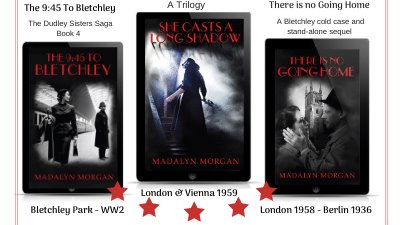 #Saga #spy #thriller #MurderMystery  #London #Berlin #Vienna   The 9:45 To Bletchley & There Is No Going Home  https://amazon.co.uk/Madalyn-Morgan/e/B00J7VO9…  SHE CASTS A LONG SHADOW. A stand-alone sequel https://amazon.co.uk/dp/B089JDCR8D/pic.twitter.com/8hB9HNYvDz
