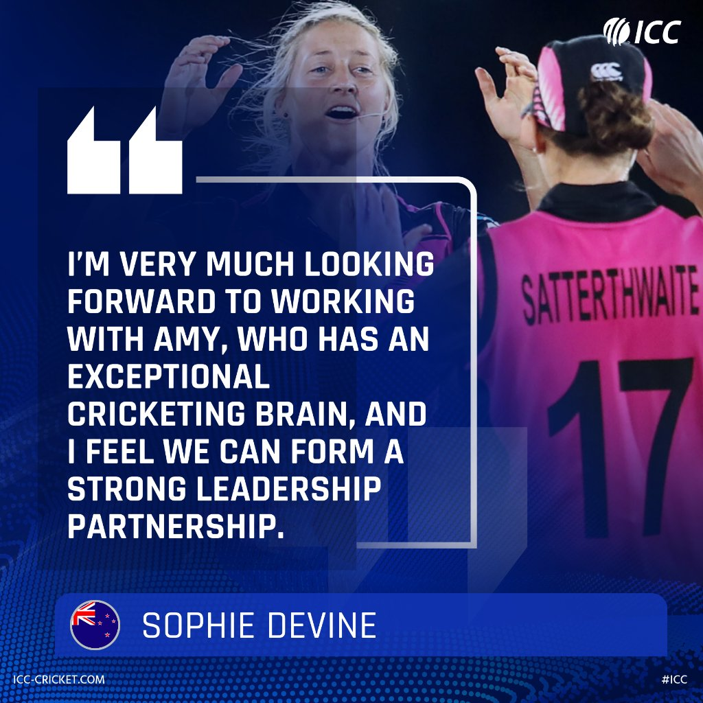 Sophie Devine, who was recently appointed as full-time @WHITE_FERNS captain, is hoping to perform even better as a leader with the guidance of Amy Satterthwaite. https://t.co/qEgtSjTT85