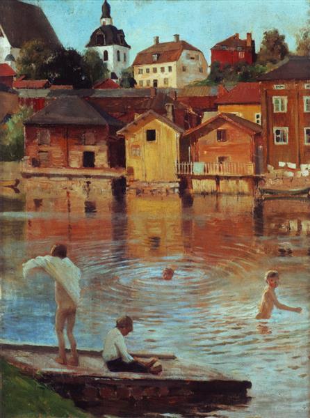 "Moltes gràcies Albert!  #ArtLovers #ArteYArt   ""Boys Swimming in the Porvoo River"" Albert Edelfelt (1854-1905), Finnish pic.twitter.com/7vJ83lGJJ0"