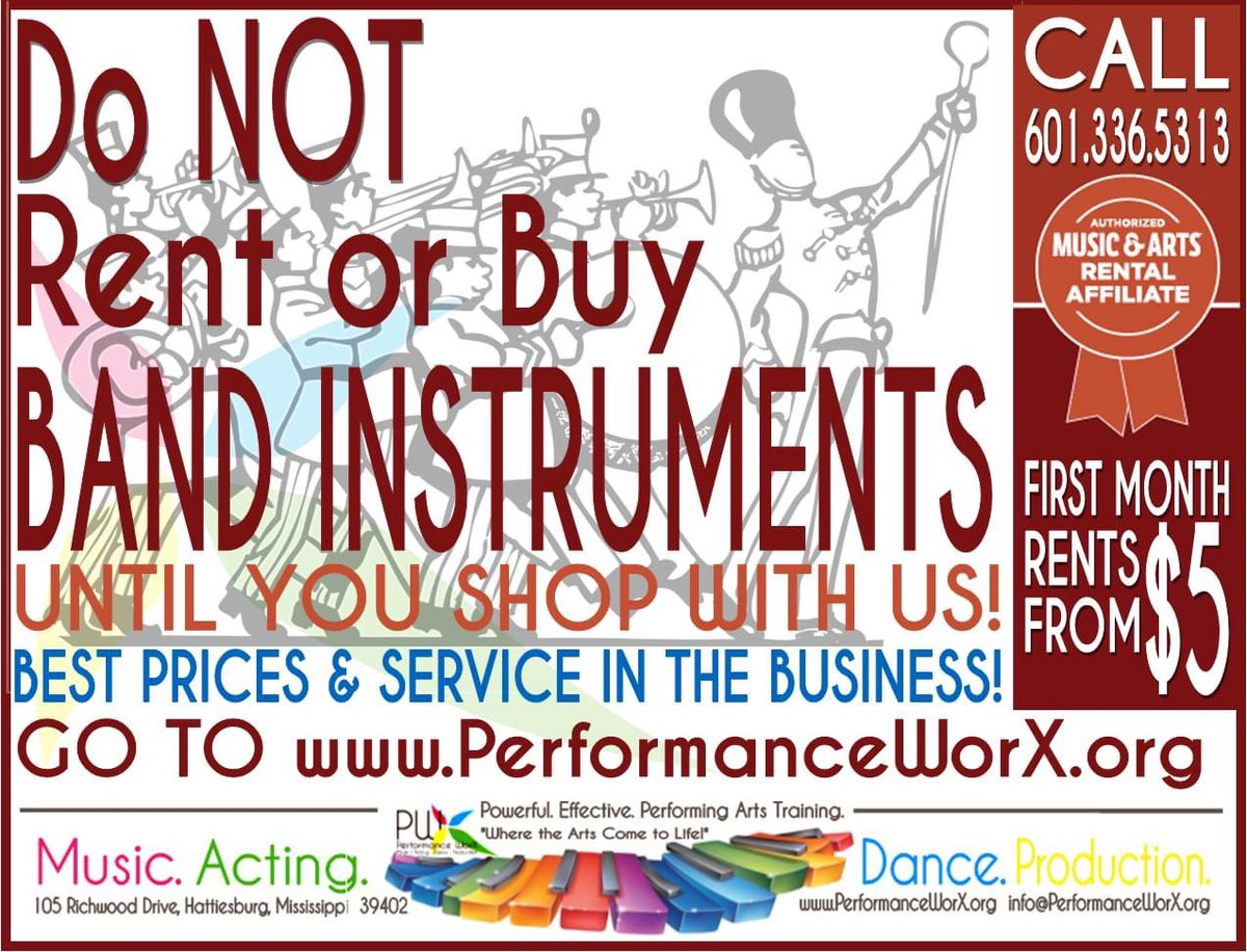 DO NOT RENT OR BUY BAND INSTRUMENTS. . . until you shop with Performance WorX!  BEST RENTAL PRICES & REPAIR SERVICE IN THE BUSINESS!  Call 601.336.5313 or go to https://t.co/JF89hecU77! #marchingband #banddirectors #schoolbands #bandinstruments #stringinstruments https://t.co/Ag9ke6uhnn