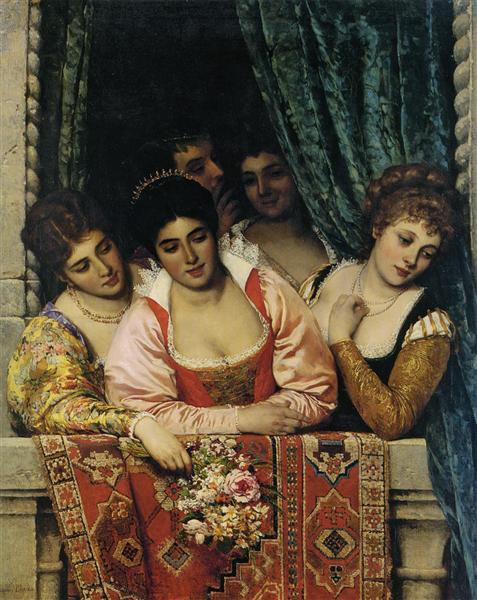 "Mille grazie carissimo Alberto!  #BuonVenerdì #ArtLovers #ArteYArt   ""Ladies on a Balcony"" Eugene de Blaas (1875) pic.twitter.com/KTNadaIBoP"