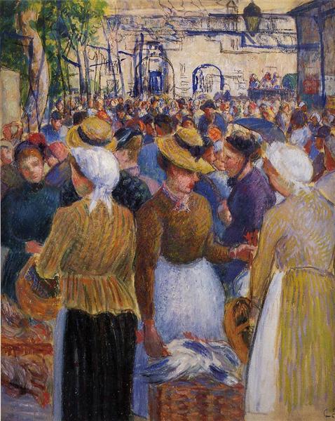 """Mille grazie mio caro Alberto!  #Buonagiornata #Verano2020 #ArtLovers #ArteYArt   """"Poultry Market at Gisors"""" Camille Pissarro (1889) Private collection pic.twitter.com/3OKb5GUZk8"""