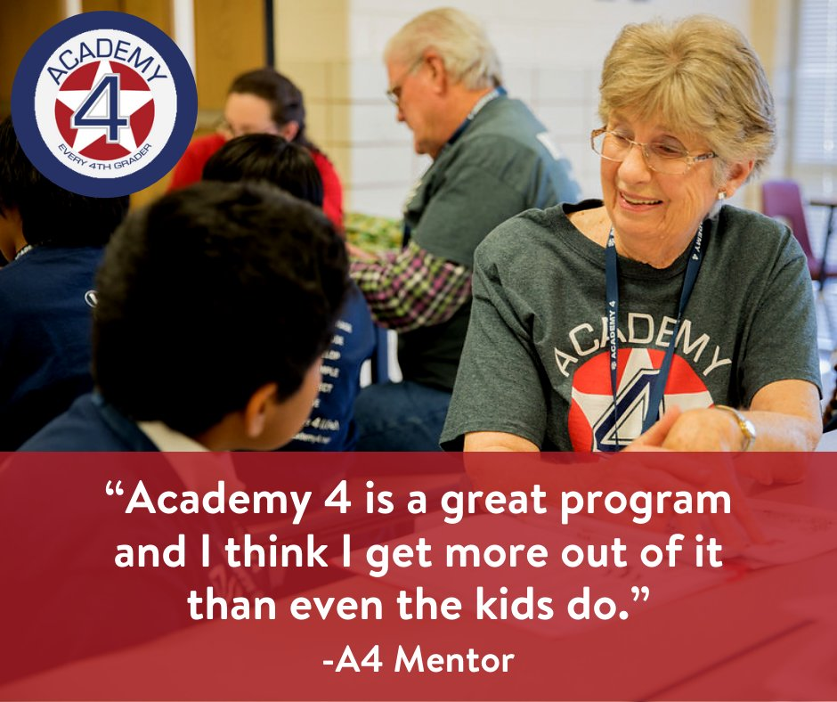 Think about how becoming a mentor might transform YOU! #ChangeLives #Mentor #Service #Volunteer #Leaders4Life #Academy4 #BeTheGOOD #Every4thGraderpic.twitter.com/tLCW2cPi5l