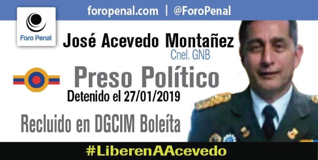 Hoy abogamos por José Acevedo Montañez, de 57 años de edad, coronel de la GNB, detenido el 27 de enero de 2019, por funcionarios de DGCIM por un supuesto magnicidio. Ayúdanos, alcemos juntos nuestras voces por él  #LiberenAAcevedo  @alfredoromero @HimiobSantome @MuniraMunoz https://t.co/D1FdVwlDQv