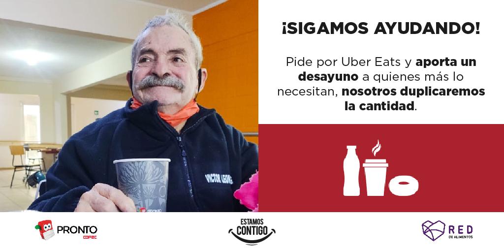 ¡Sigamos ayudando a quienes más lo necesitan! 🙌🏻❤️ Te invitamos a comprar en tiendas #ProntoCopec en @UberEats_Chile y contribuir con $1.600 destinado a un desayuno que será distribuido a través de  @RedAlimentos 🚚. Nosotros duplicaremos tu aporte  👏👏 https://t.co/r7kGlc0trb https://t.co/xCPIOI3L7z