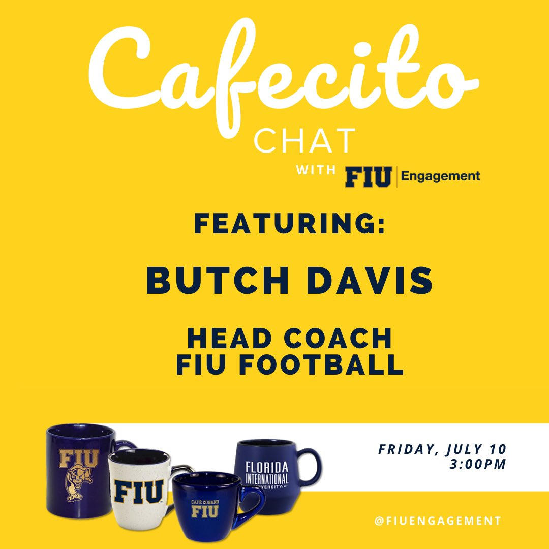 Catch @FIUCoachDavis on Cafecito Chat this Friday! fiu.zoom.us/j/94397591422 #PawsUp 🐾   #PantherPride