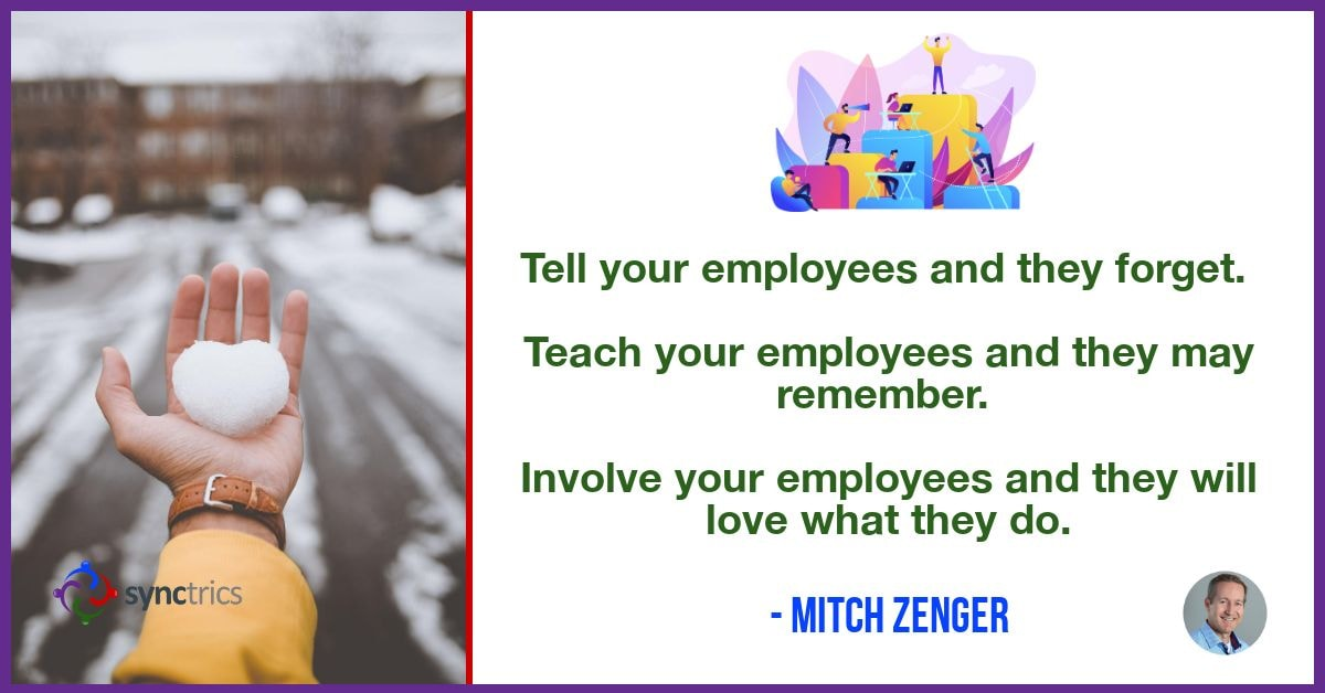 Why can't we get employees more involved in their engagement??? We need to let them own and control their personal fulfillment as they work together in teams! @mitchzenger @synctrics https://t.co/X6wNjxTU4d #Development #HRTech #Culture #Reputation #Synchievement #PeopleAnalytics https://t.co/b2uLNsKqXq