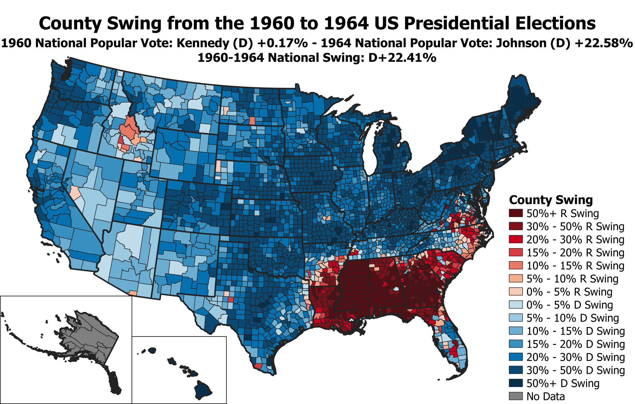 Picture of: Mill On Twitter Electiontwitter County Map Of The Swing From The 1960 To 1964 Us Presidential Elections Lbj Improved On Kennedy S Margins Almost Everywhere Except For The Deep South Where Goldwater S Opposition