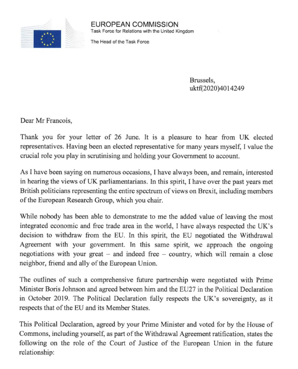 Michel Barnier has now replied to that ERG letter led by Mark Francois.  ...and there are some lovely bits of dry humour in this reply. Enjoy. https://t.co/AA3btD9xNr