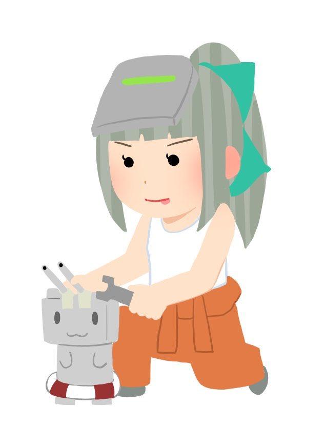 メンテナンスをする艦娘のイラスト(自作)