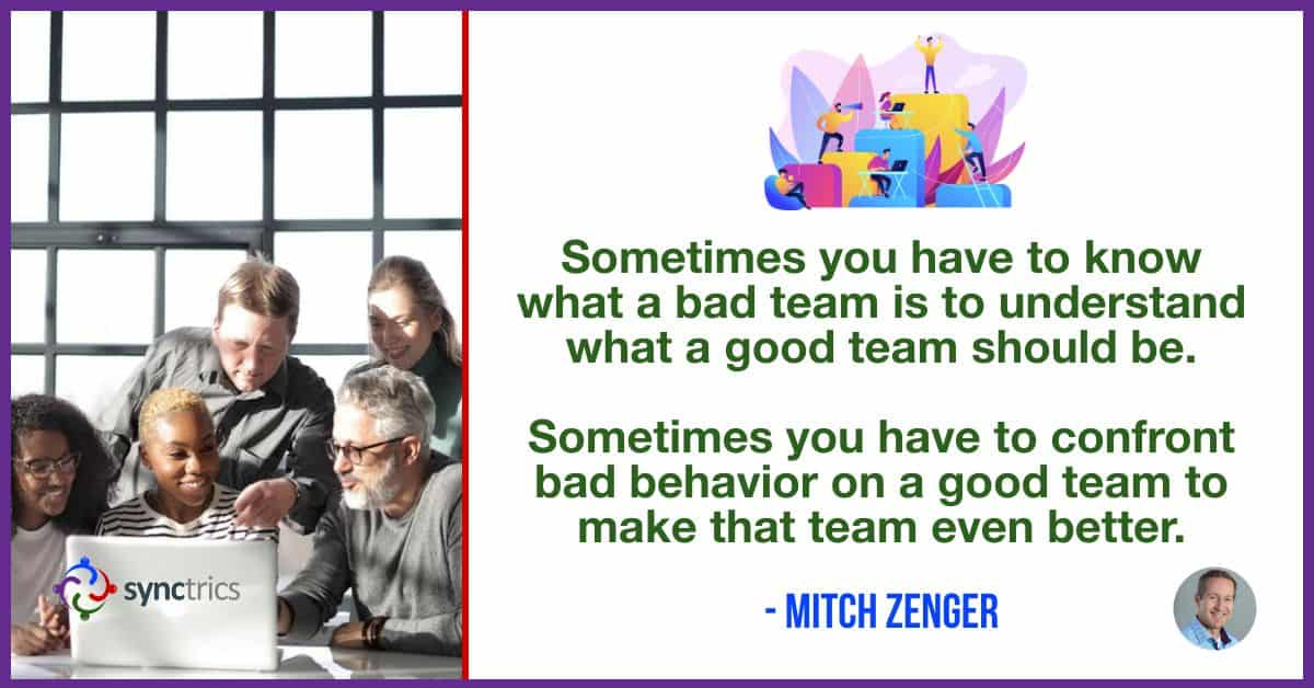 Why do we allow such bad behavior on teams?? We need to confront bad behavior to make our teams even better! @mitchzenger @synctrics https://t.co/41BpQtpHwb  #HR #Recognition #Goals #Pulsitude #OKR #Strengths #Personability #Trust #PeopleAnalytics #FutureOfWork #Synctrics https://t.co/U9InzPZSBj