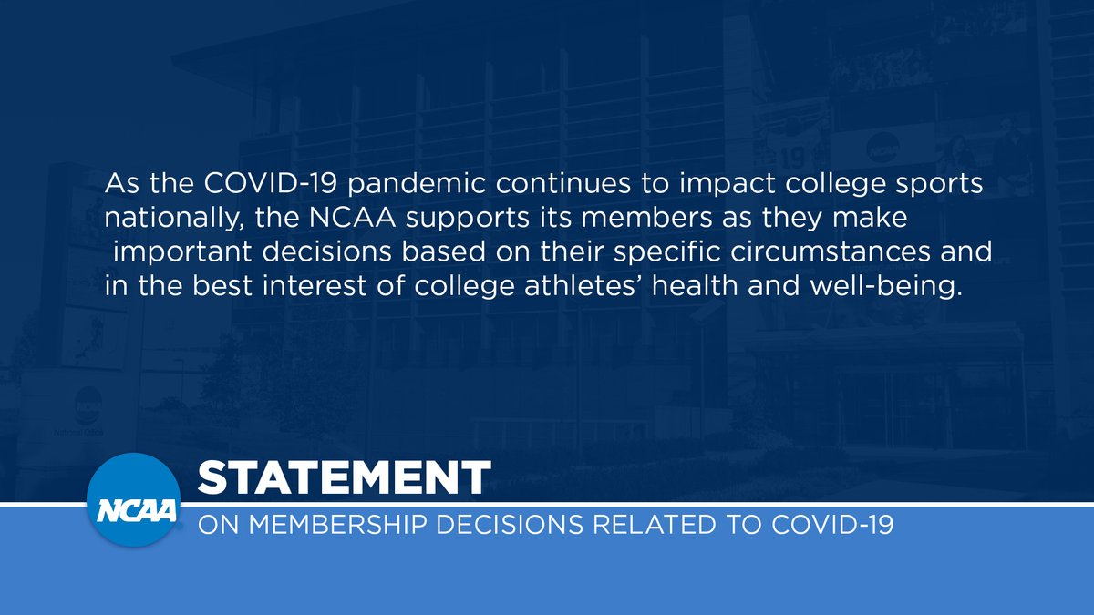 NCAA statement on membership decisions related to COVID-19: https://t.co/GvmkOJIYjE