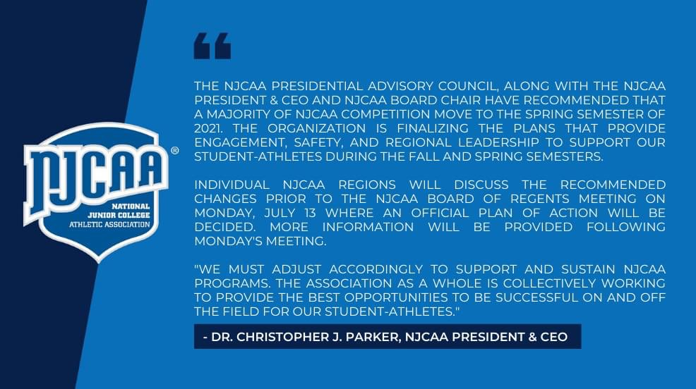 Here's a big one....The NJCAA has recommended moving a majority of competition to the spring semester. Official plan to be decided on Monday. Stay tuned... https://t.co/E5lplrWKQW