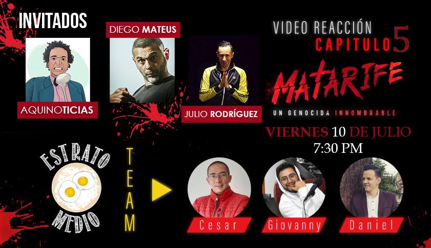 Mañana video reacción de @matarifeco con @AquinoTicias1 @diegomatteus y @aplastapayasos en el canal de Youtube de @EstratoMedio #Matarife https://t.co/ubJvRDOrL0