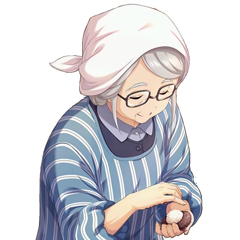 デレステのSSR、[純朴の若草]奥山沙織…の手前に居るおばあちゃんを透過しました。