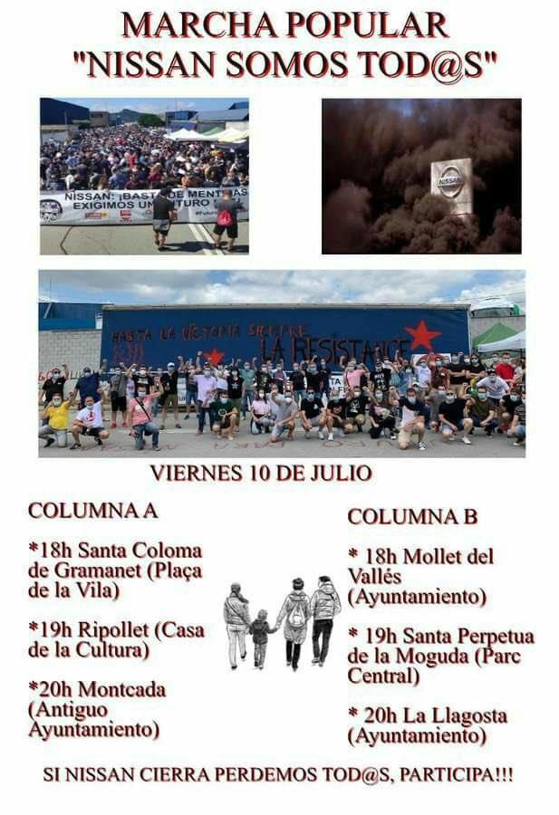 MARCHA POPULAR TODOS SOMOS NISSAN   ¿SABES QUE NISSAN QUIERE DEJAR A MÁS DE 25 MIL FAMILIAS SIN TRABAJO?  ¿Qué ha pasado? NISSAN quiere cerrar sus plantas y quiere dejar a más de 25.000 familias sin trabajo. Solidaritat!!!  #FuturoParaNissanYA pic.twitter.com/kYYbCRffCc