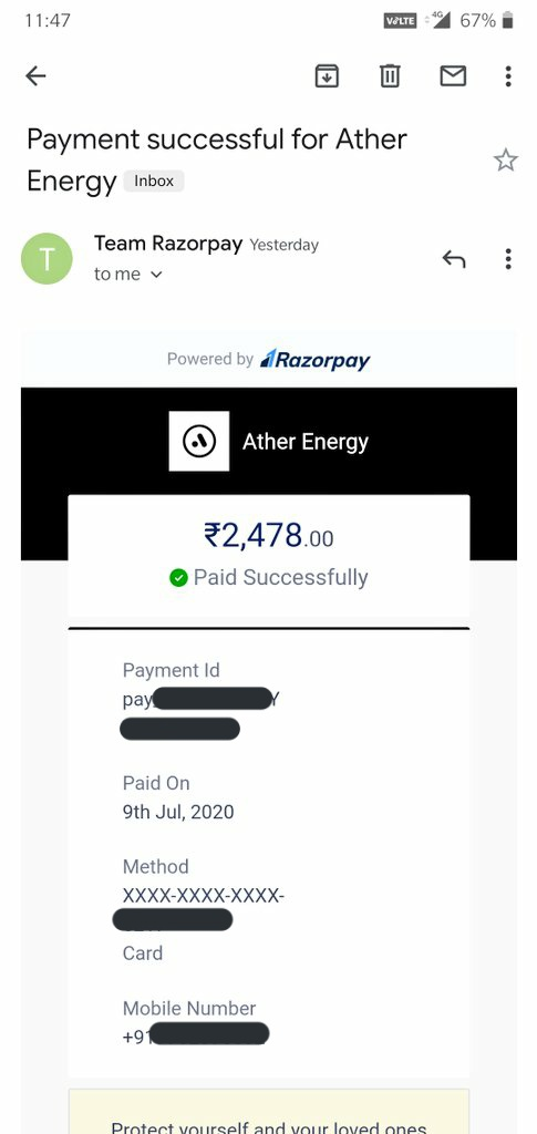 We began paid subscriptions this month at @atherenergy for our recurring services (data, OTAs, servicing).  Transitioning from free services in the last 2 years to paid services: tons of learning. Perhaps the first in the scooter/bike market.  First payment for my Ather450 done! https://t.co/tA5CiAb0wM