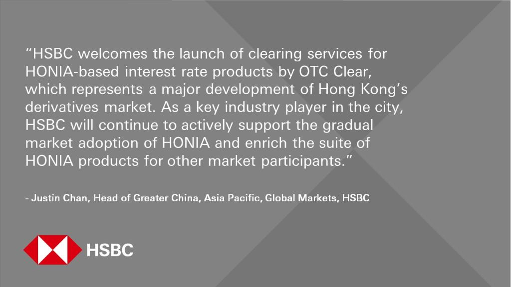 Yet another major development for HK's derivatives market. #HSBC has participated in the first #HONIA Interest Rate Swap contract cleared by @HKEXGroup OTC Clear, deepening our support for the gradual market adoption of HONIA. https://t.co/bPtRT2Y2Vg https://t.co/0WvF0GeNVn