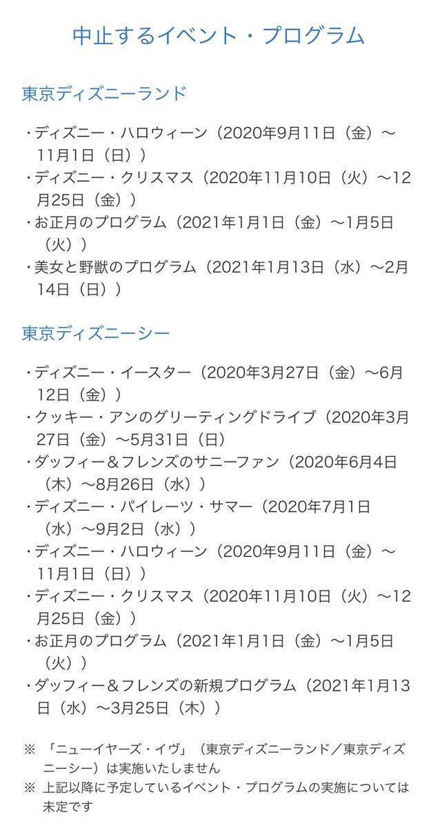 東京ディズニーランド&シー2021年3月までのイベントが全て中止される事が決定