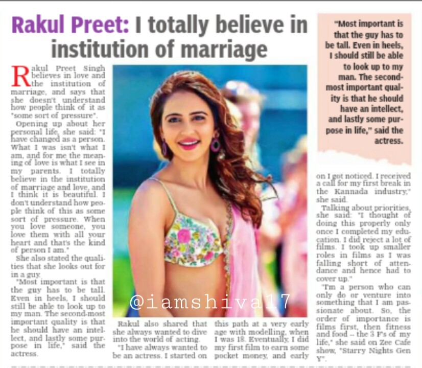 "@Rakulpreet : I totally believe in institution of marriage   #RakulPreetSingh believes in love and the institution of marriage,  and says that she doesn't understand how people  think of it as ""some sort of pressure"" pic.twitter.com/Jm0wBOAfyb"