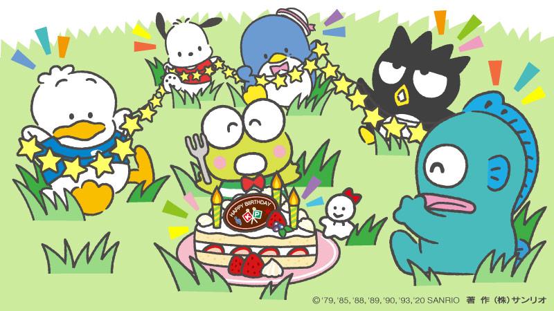 タキシードサム「いつもみんなを笑顔にしてくれる、」ポチャッコ「愛されキャラ、けろけろけろっぴ!」ペックル「お誕生日、」ばつ丸「おめでとう!」ハンギョドン「…はぴだんみんなでお祝い!」けろっぴ「みんな…、ありがとう!」 #サンリオ  #はぴだんぶい