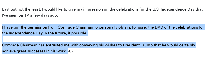 """Kim Yo Jong statement ended with this... weird mentioning of 4th of July and how she got permission from Kim Jong Un to personally obtain the """"DVD"""" for that  My take: 1) Didn't want to get Trump too offended, KYJ knows Trump is prone to compliments on big, beautiful, shiny things https://t.co/BFBxCmtdqz"""