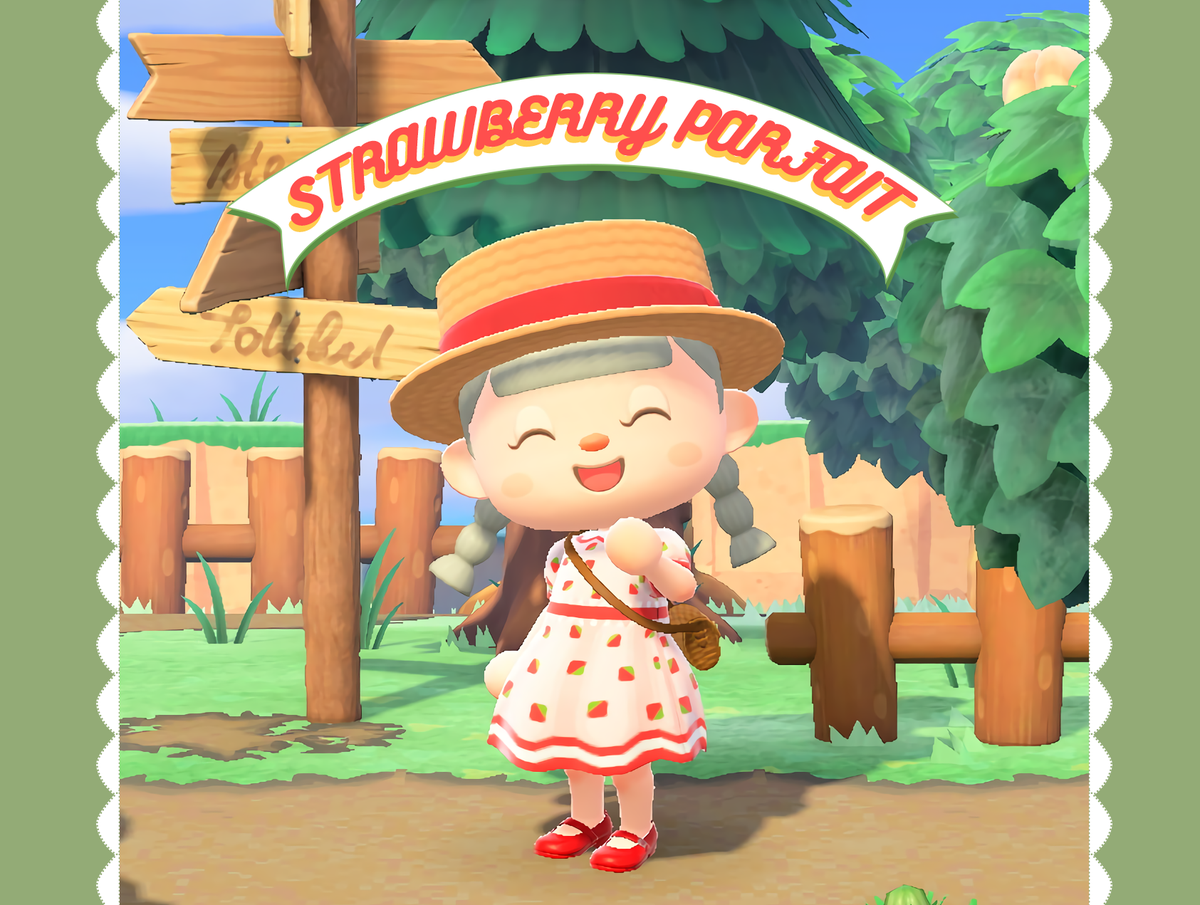 Finally today I got a sunny day to take a decent photo!Here it is my Strawberry Parfait dress, I really love the result 😍I hope someone loves it has much has I do 😊#animalcrossing #ACNH #ACNHDesign #どうぶつの森 #マイデザイン