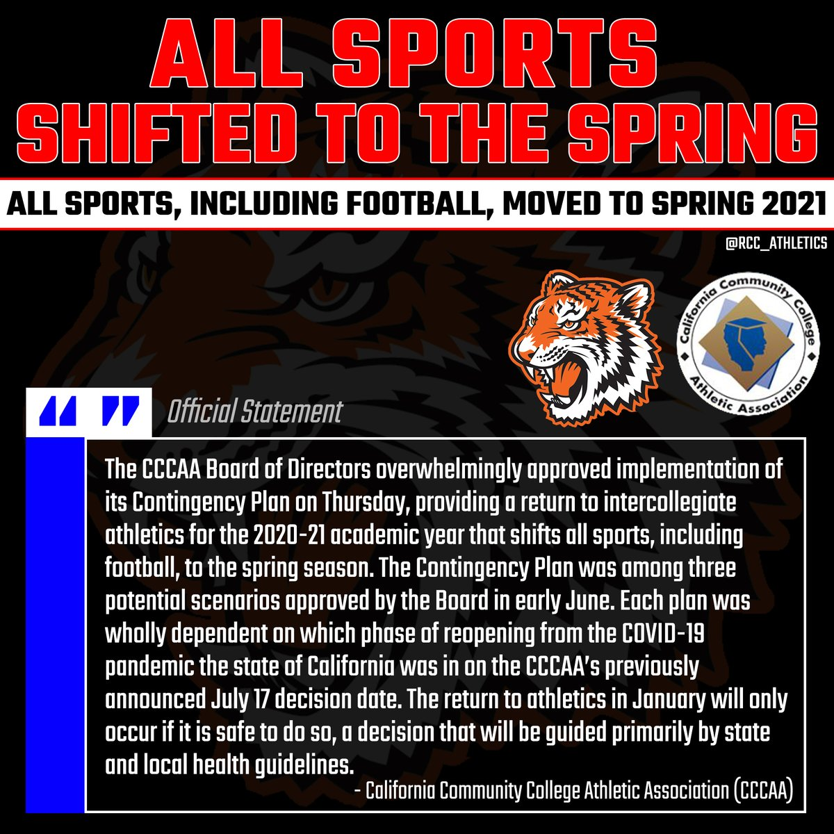 The @CCCAASports Board of Directors overwhelmingly approved implementation of its Contingency Plan, thus moving ALL FALL SPORTS, including football, to the spring season. Read more about the details at https://t.co/V7Gnsfc6gq or https://t.co/iRs0UwRjq3. #TheCommunitysCollege https://t.co/7goa4sDN6M