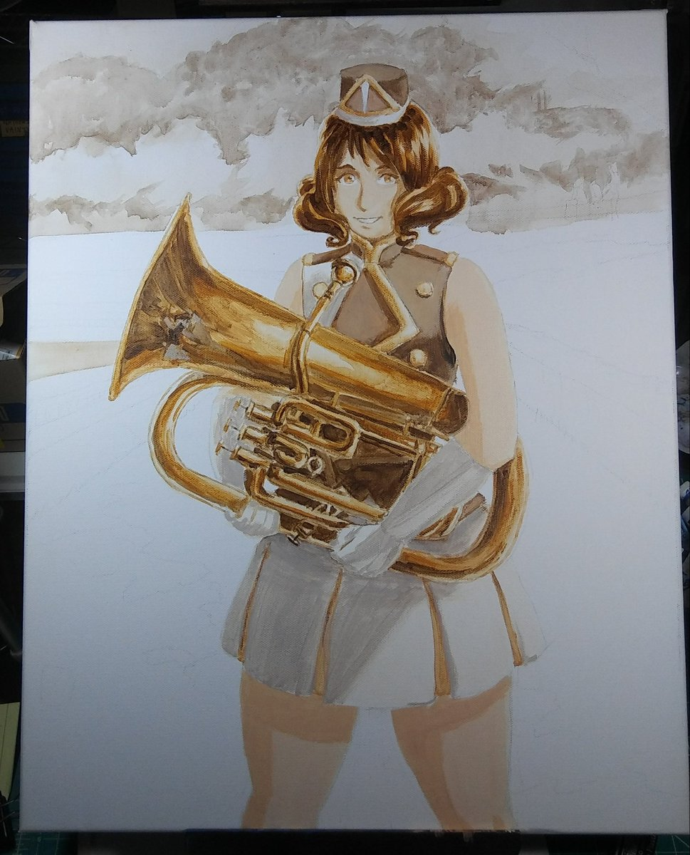 Nearly done setting the values, tomorrow I'll finish them and glaze the colors over #wip #anime_eupho https://t.co/CIq41iW4wp
