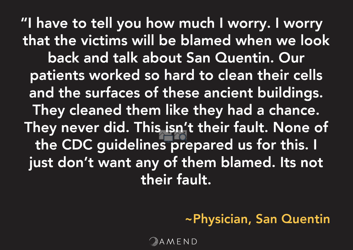 "22/ @ 1:09:25: A powerful quote by physician at San Quentin below. ""They cleaned (their cells) like they had a chance. They never did….it's not their fault."" @AmendatUCSF has put together advice for hospitals caring for prisoners w/ Covid: https://tinyurl.com/y7rubgar pic.twitter.com/CTJyL1ihB8"