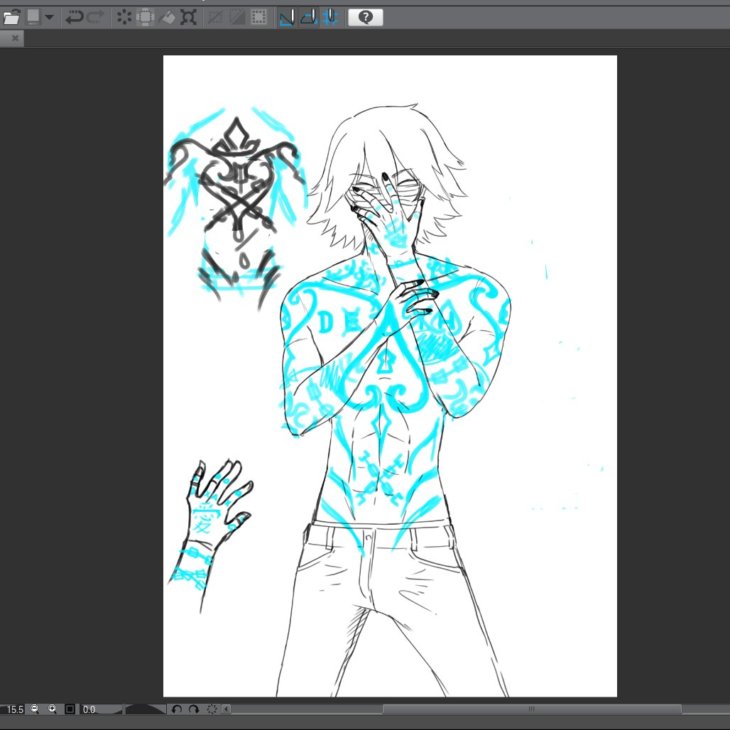 #BrokenChainsWT #Wip I'm really bad at desinging tattoos  Read the last chapter here!!  https://t.co/a3tg7Z3Ro8  Made with @clip_celsys  #drawing #anime #webtoon #CLIPSTUDIOPAINT  #Shonen  #manga  #漫画 #週刊少年ジャンプ @webtoon   @webtooncanvas https://t.co/GzepVzCTqF