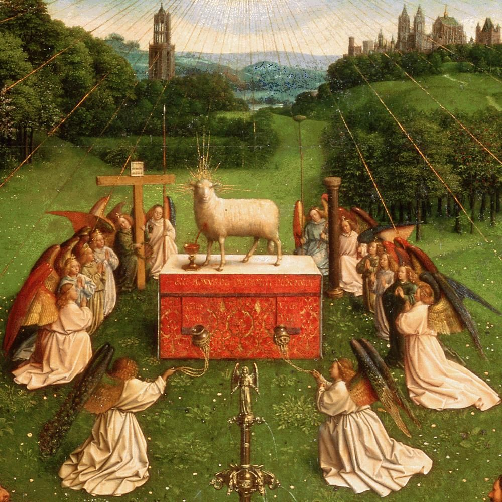 """#JanVanEyck died #OnThisDay (or around it) in 1441; he pioneered painting in oil & was the greatest of the #Netherlandish artists; his #art has an extraordinary brilliance, as one can see with """"l'Agneau Mystique,"""" the #GhentAltarpiece that I saw there...  https://t.co/XdCRkgmC2q https://t.co/O8gwaDW58I"""