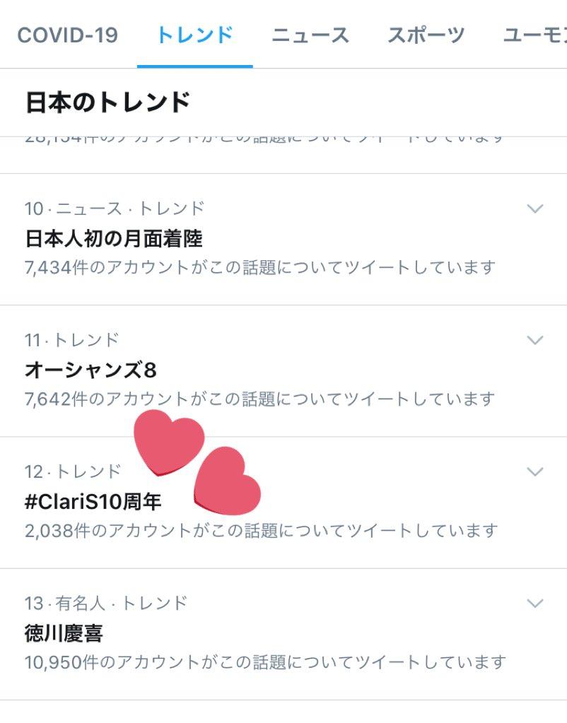 \ 🎊㊗トレンド入り㊗️🎉/#ClariS10周年トレンド入りしました🤗💞ありがとうございます❕❕