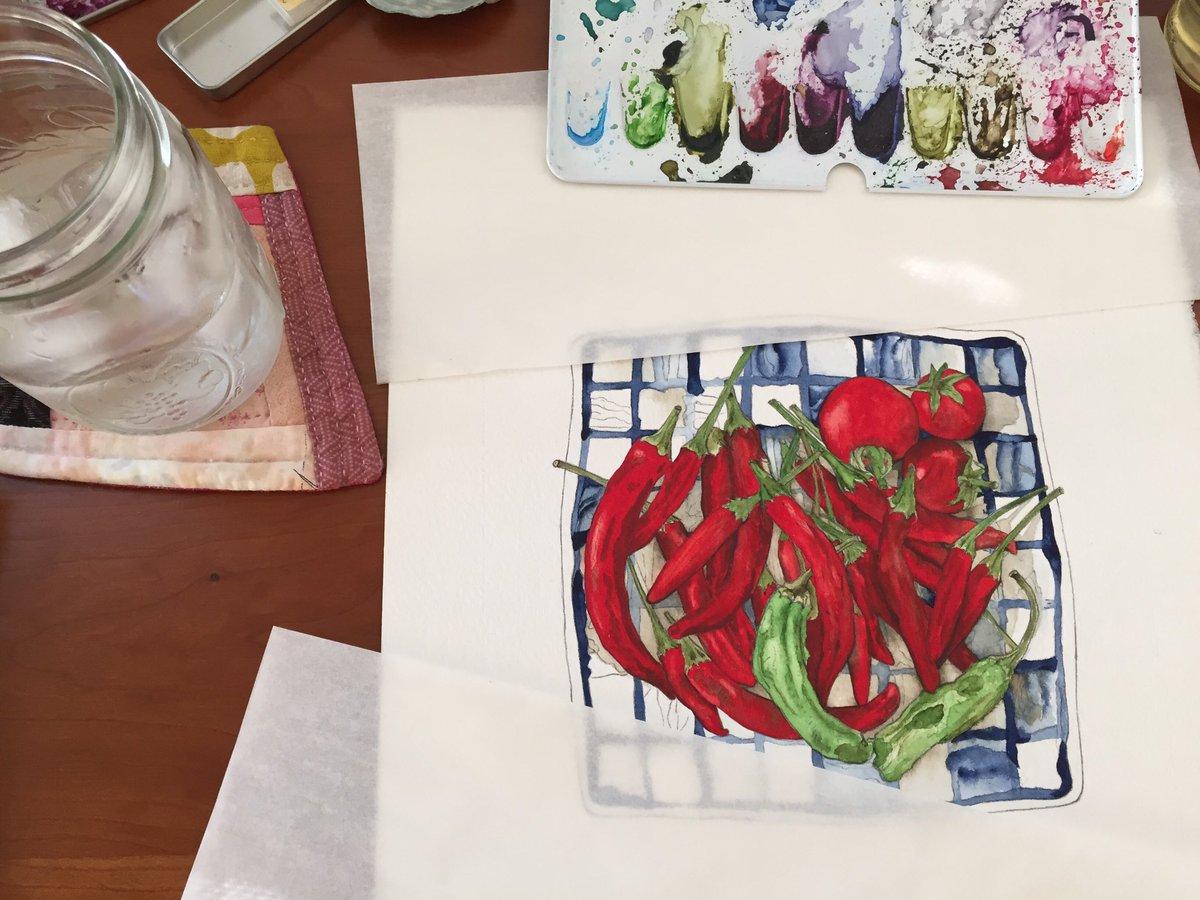 Slow-ish progress 🌶🌶🌶 #radicalfamilyfarms @blackwing #palomino #rembrandtwatercolours @winsorandnewton #series7 #brushes on @StCuthbertsMill 300lb #coldpress #foodillustration #notkidlitart #foodart #watercolours #foodlover #slowishprogress #workinprogress #wip https://t.co/cfID9kjmAF