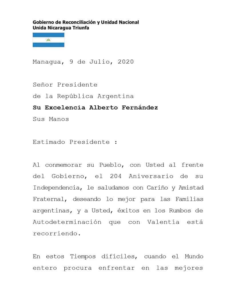 Gobierno de #Nicaragua saluda conmemoración del 204 Aniversario de Independencia del hermano país de #Argentina pic.twitter.com/tNUVdyLIp8