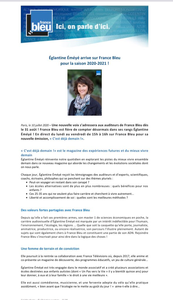 Deux nouvelles voix sur @francebleu à la rentrée, bienvenue à @SidonieBonnec et   @Eglantine_EMEYE https://t.co/DGa9E48Tsz