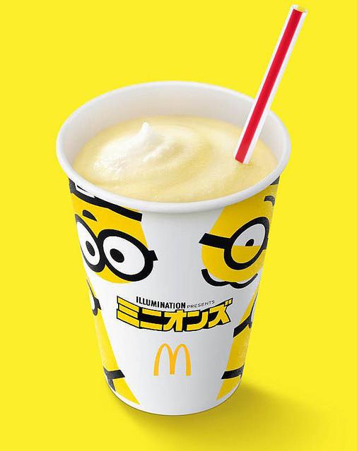 【17日より】マクドナルド「マックシェイク バナナ味」「ワッフルコーン チョコバナナ」を発売!また、期間中はワッフルコーン全商品をミニオンズの限定パッケージで提供する。