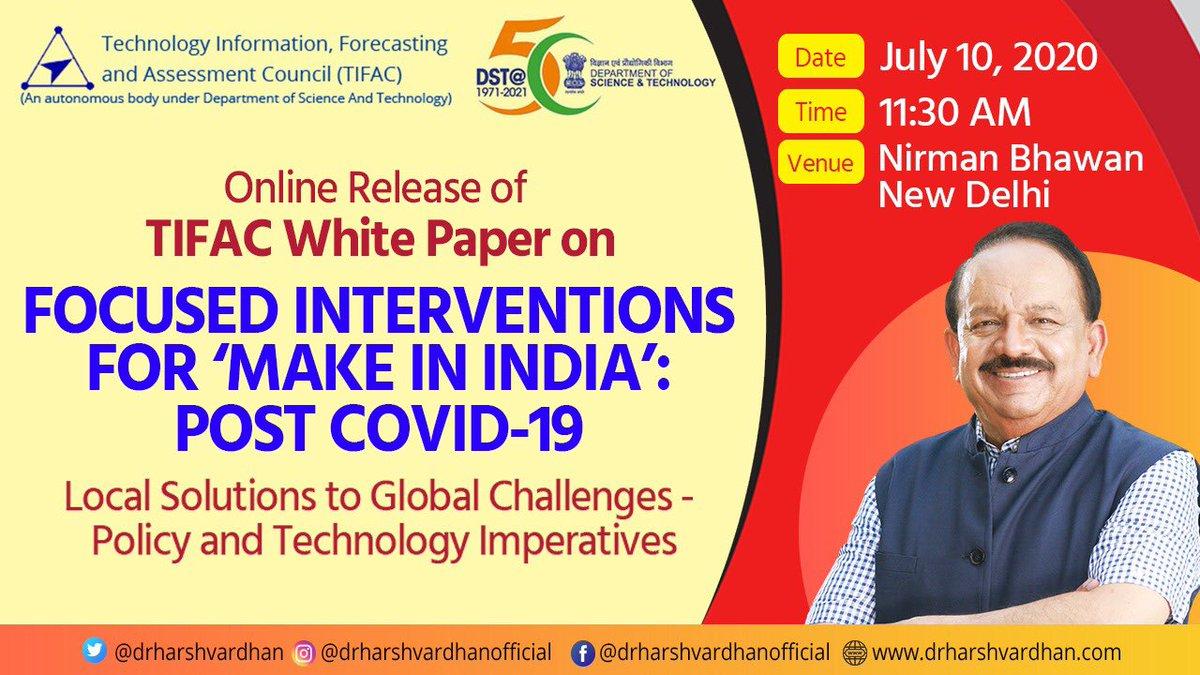 """Dr Harsh Vardhan on Twitter: """"@TIFAC_India White Paper on 'Focused ..."""