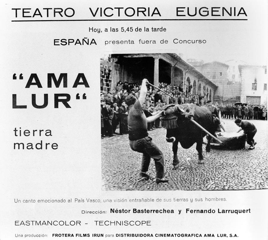 """#GaurkoEgunez 1968an lehenengo euskarazko filma """" Ama Lur """" estreinatu zen  Donostiako zinemaldian,  Fernando Larrukert eta Nestor Basterretxeak filmatua. https://t.co/nbrURNKxzF"""