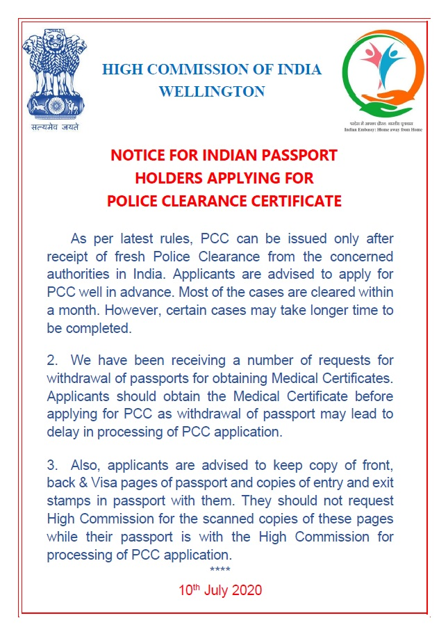 Notice for Indian passport holders applying for PCC. @MukteshPardeshi @BhavDhillonnz @indianweekender @indiannewslink @IndiaNZDiaspora @DiasporaIndiaNZ @WIAWellington @radio_apna